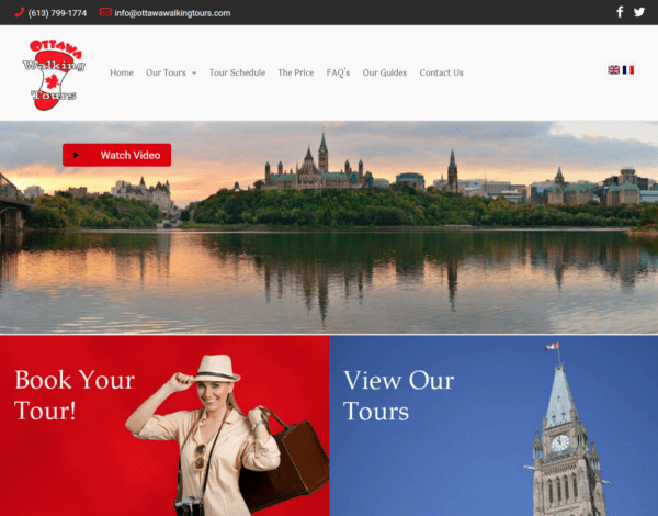 Portfolio Image of Ottawa Walking Tours Web Site