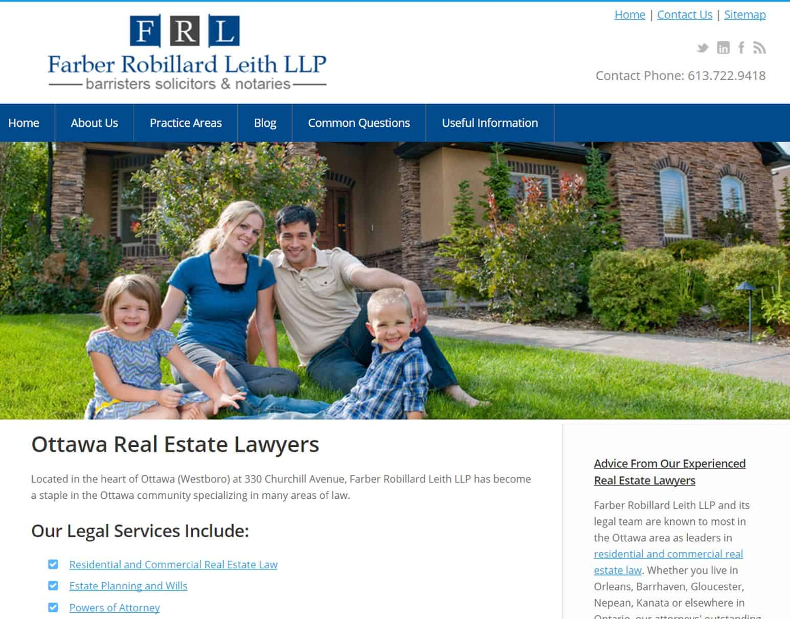 Portfolio Image of Farber Robillard Leith Law Website